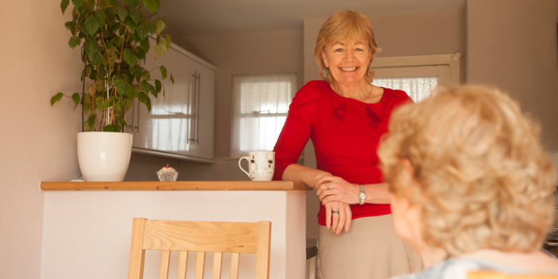 A St Clare volunteer visits a patient at home