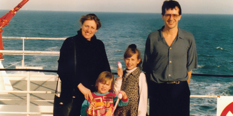 The Barclay family on a ferry