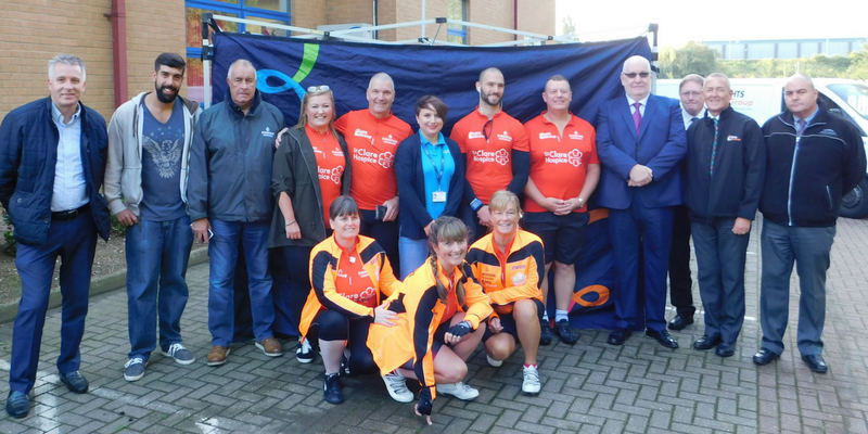 HTS Group cyclists, Raff's Pedalers, pictured with HTS Group staff and St Clare Corporate Partnerships Manager Amy Jacobs, on the morning of the challenge