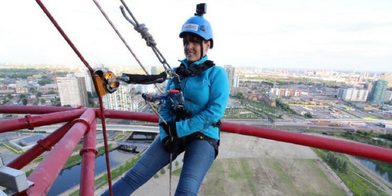 St Clare Hospice Chef Samantha Hegarty taking part in the Orbit abseil event