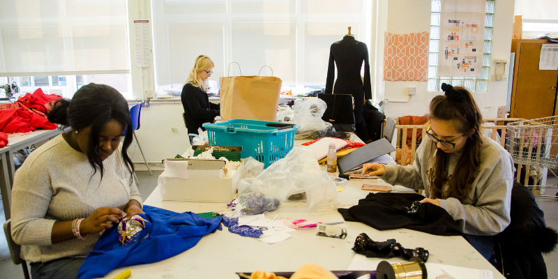 Harlow College student upcycling vintage clothing